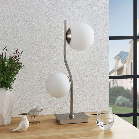 Lindby Avalyn Table Lamp, White, Satin Nickel