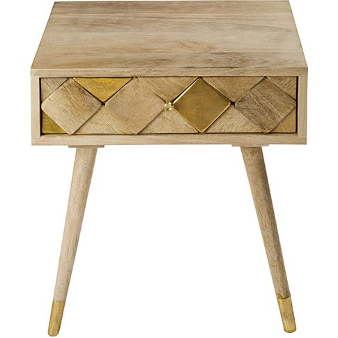 1-drawer bedside table in gold-effect mango wood Salome