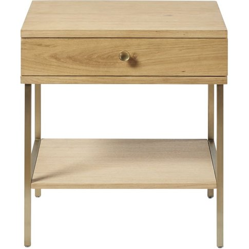 1-Drawer Bedside Table With Brass Metal Legs Karla