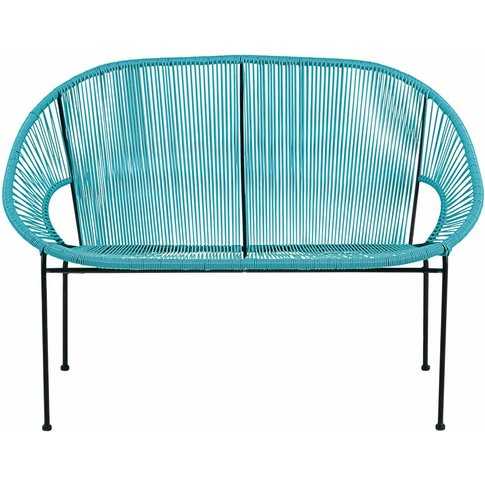 2/3-seater garden bench in blue resin string and bla...