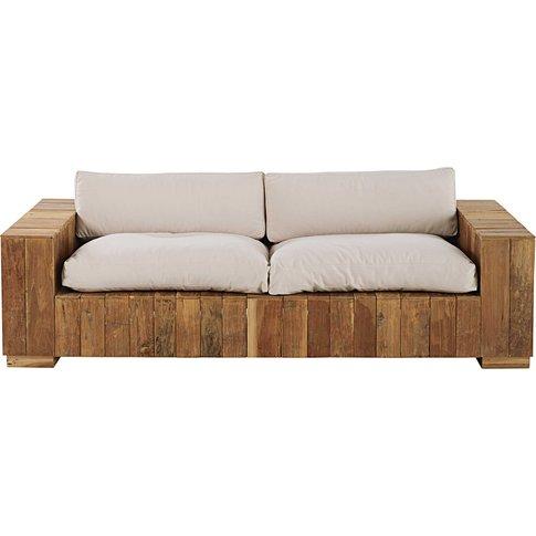 2/3-seater garden bench in teak with ecru cushions F...