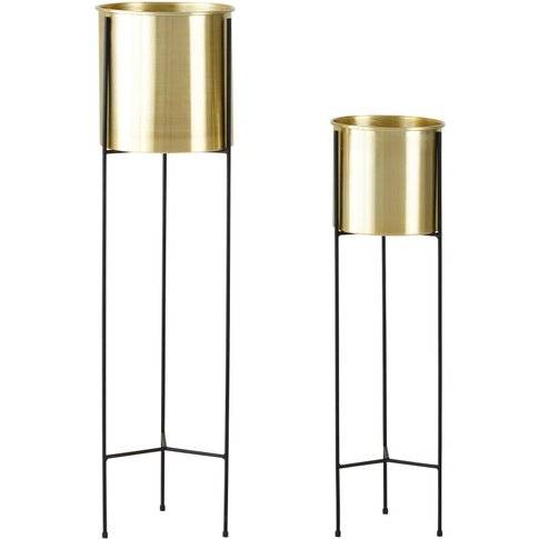 2 Black And Gold Metal Planters H87