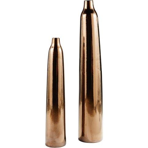 2 Bronze Ceramic Vases H114