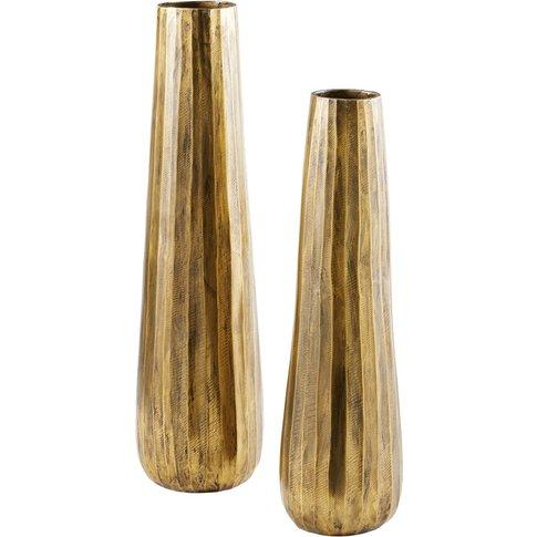 2 Bronze Metal Vases