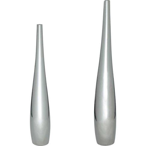 2 Ceramic Vases In Silver H115