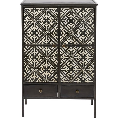 2-Door 2-Drawer Storage Cabinet with Ivory Print Manolo