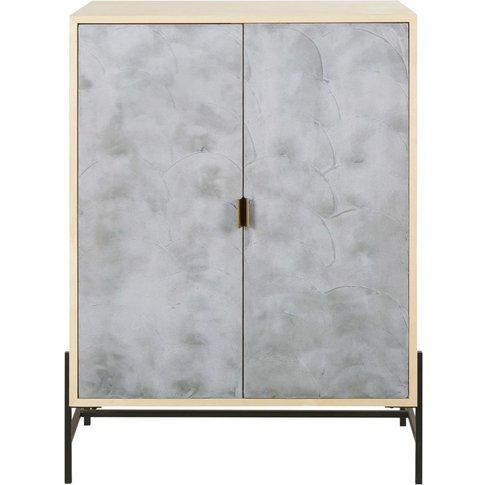 2-Door Imitation Cement Storage Cabinet Sendai