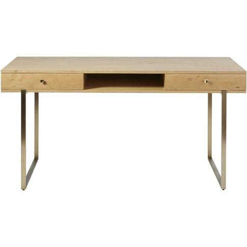 2-Drawer Desk With Brass Metal Legs Karla