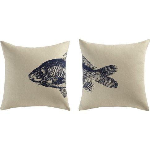 2 FISH Cotton Cushions in Beige / Blue 40x40