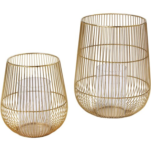 2 Gold Wire Candle Holders