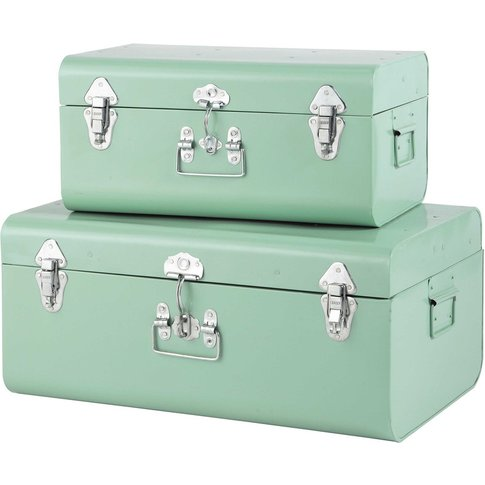 2 Light Blue Metal Trunks