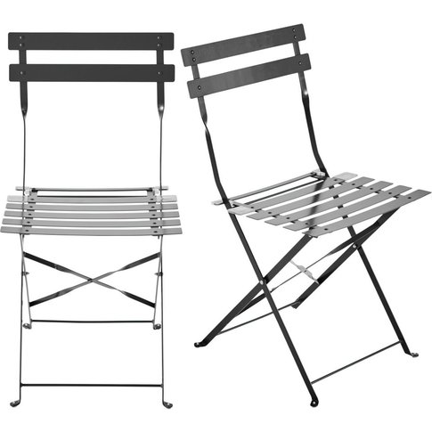 2 metal folding garden chairs in taupe Guinguette