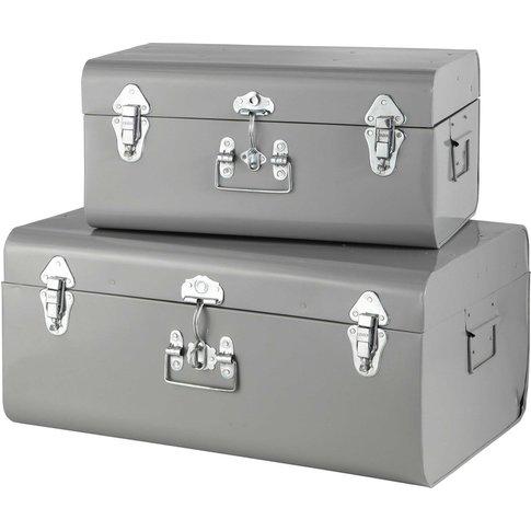 2 Metal Trunks In Grey