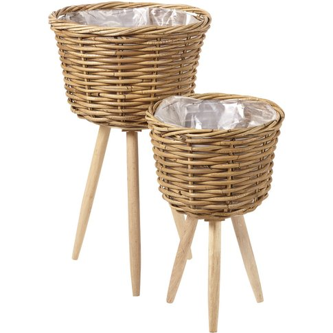2 Rattan Planters with Bases H60