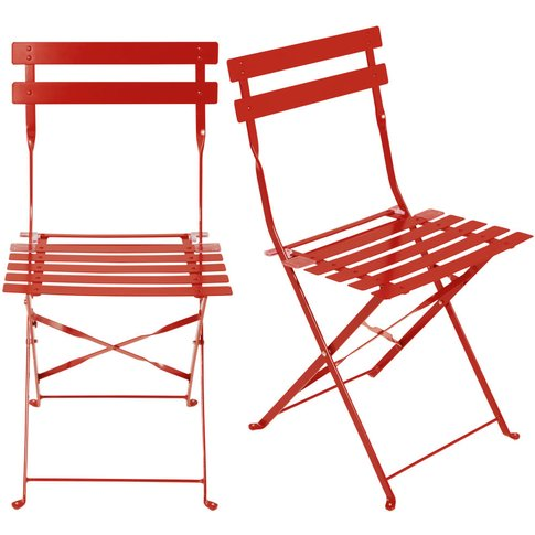 2 Red Epoxy Metal Folding Garden Chairs H80 Guinguet...
