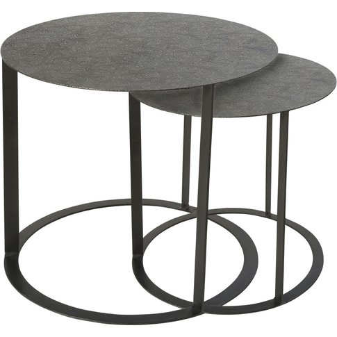 2 Sculpted Black Metal Side Table