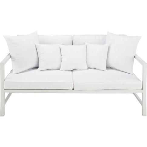 2 seater aluminium garden bench seat in white Ithaque