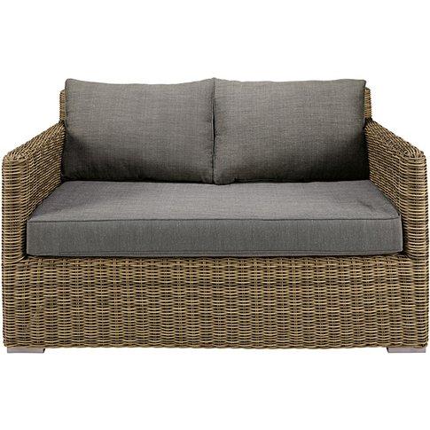 2-seater garden sofa in resin wicker with grey cushi...
