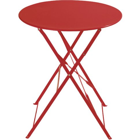 2-Seater Red Metal Folding Garden Table W58 Guinguette