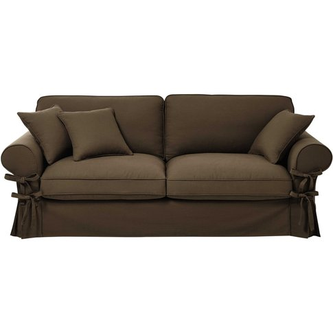 3/4 Seater Cotton Sofa In Taupe Butterfly