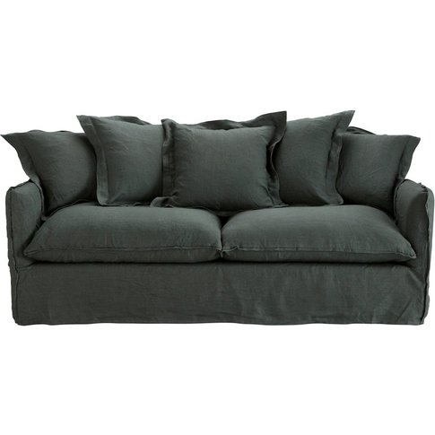3/4 Seater Washed Linen Sofa Bed in Charcoal Grey Ba...