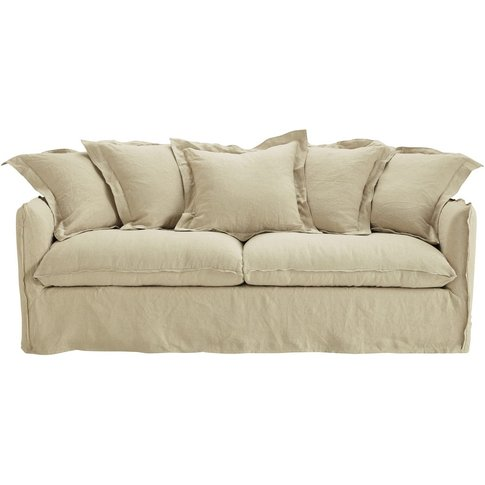 3/4 Seater Washed Linen Sofa Bed In Ecru Barcelone