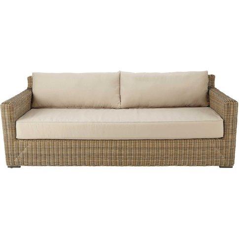 3/4 seater wicker and fabric garden sofa in beige Fidji