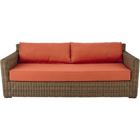 3/4 seater wicker and fabric garden sofa in brick re...
