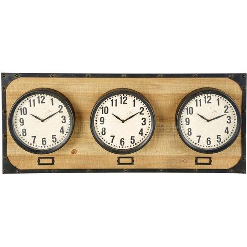3 Clocks On Fir And Black Metal Base 92x38