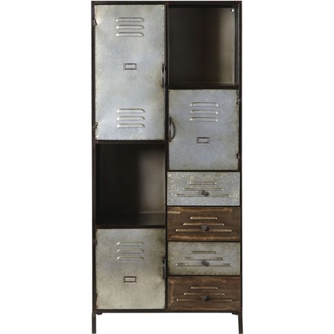 3-Door 4-Drawer Industrial Storage Cabinet Iron