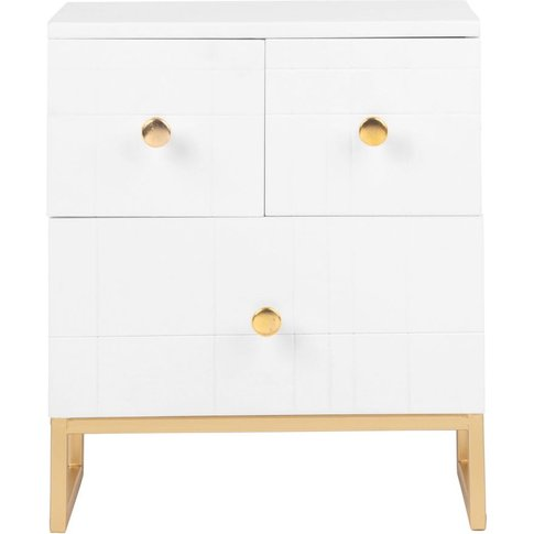 3-Drawer White And Gold Metal Storage Box