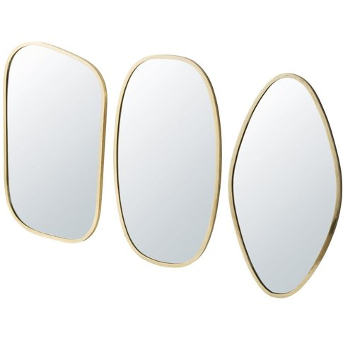 3 Gold Metal Mirrors