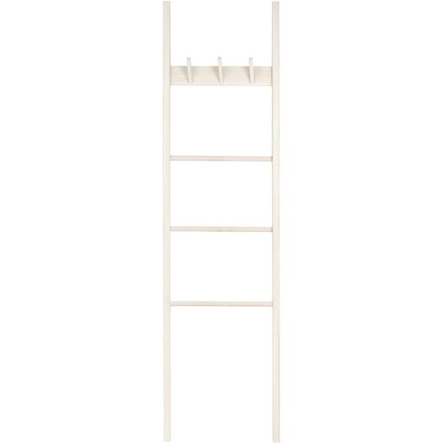 3-Hook Paulownia Coat Rack Ladder