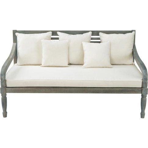 3 seater acacia garden bench seat in grey Chypre