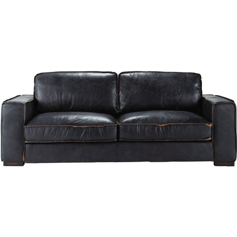 3-Seater Black Leather Sofa Bed Colonel