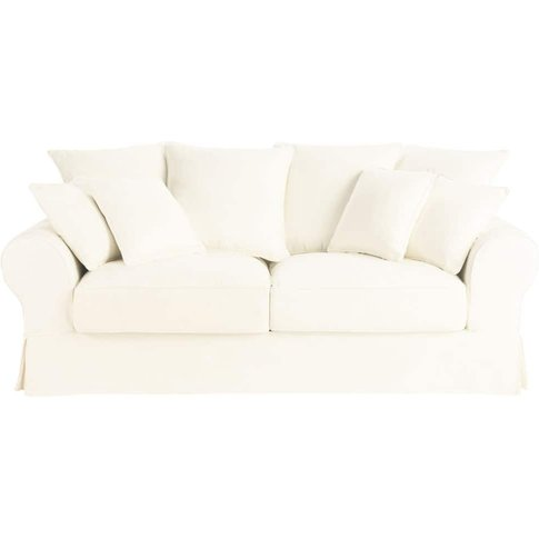 3-Seater Cotton Sofa Bed In Ivory Bastide