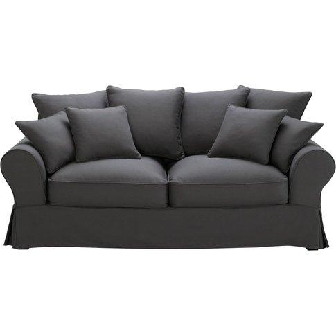 3-Seater Cotton Sofa Bed In Slate Grey Bastide