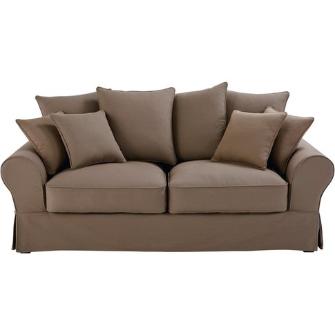 3 Seater Cotton Sofa Bed In Taupe Bastide