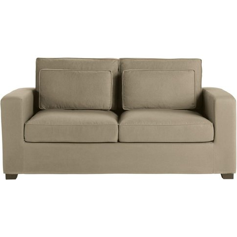 3 Seater Cotton Sofa Bed In Taupe, Mattress 6 Cm Milano