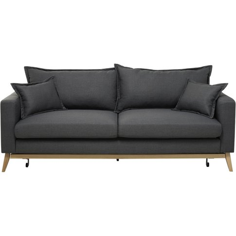 3-Seater Fabric Sofa Bed In Slate Grey Duke