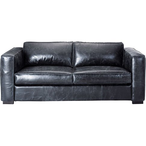 3 Seater Leather Sofa Bed In Black Berlin