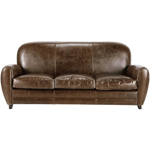 3 Seater Leather Vintage Sofa In Brown Oxford