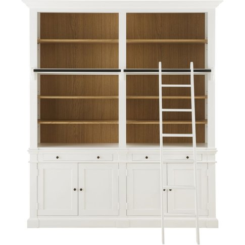 4-Door 2-Drawer Bookcase With White Ladder Versailles