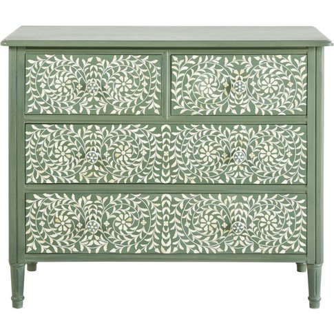 4-Drawer Chest Of Drawers In Khaki With Floral Print...