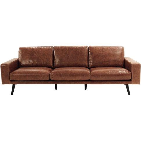 4 Seater Leather Sofa in Cognac Colour Clark