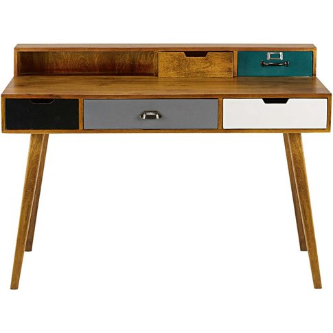 5-Drawer Solid Mango Wood Desk Picadilly