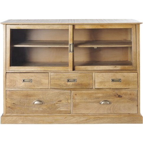 5-Drawer Storage Cabinet With 2 Glass Doors Cezanne