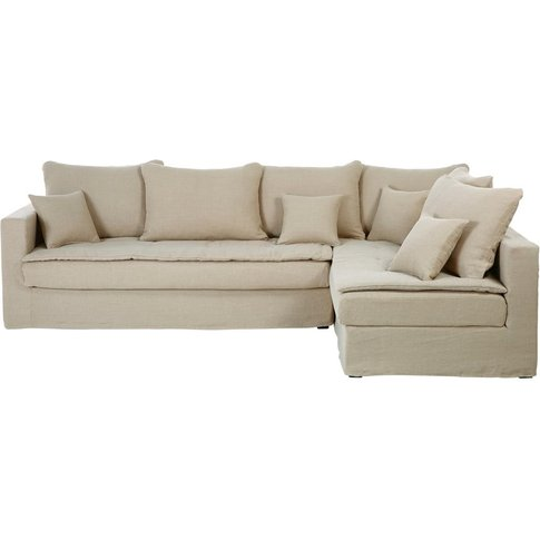 5-Seater Washed Linen Right-Hand Corner Sofa Bed Cél...