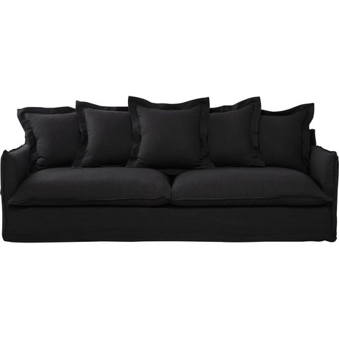 5 Seater Washed Linen Sofa In Charcoal Grey Barcelone