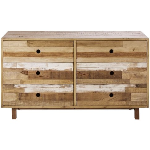6-Drawer Slatted Effect Solid Mango Wood Double Ches...